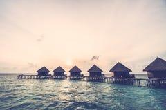 在马尔代夫海岛的日落 免版税库存图片