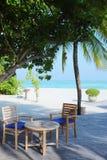 在马尔代夫海滩的咖啡馆 库存照片