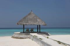 在马尔代夫海滩的树荫处 免版税库存图片
