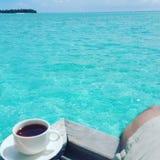 在马尔代夫的发球区域 免版税库存照片