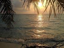 在马尔代夫的日落 库存照片