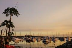 在马尼拉湾的靠码头的游艇在菲律宾 免版税库存图片