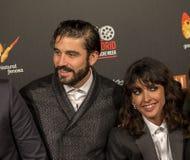 在马德里首放星期戏院事件的亚历克斯加西亚和Inma Cuesta在卡亚俄广场,马德里 免版税库存图片