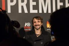 在马德里首放星期戏院事件的朱利安Villagran在卡亚俄广场,马德里 免版税库存图片