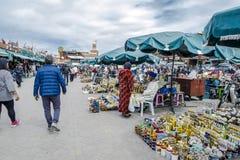 在马拉喀什,摩洛哥souks的巴巴里人市场  免版税库存照片