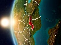 在马拉维上的日落从空间 库存图片