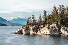 在马掌海湾附近的Whytecliff公园在西温哥华, BC,加拿大 免版税库存照片