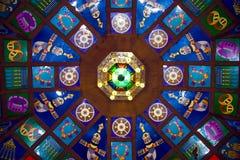在马斯喀特souk上的五颜六色的天花板 图库摄影