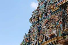 在马杜赖Meenakshi阿曼寺庙塔的雕象  免版税库存照片