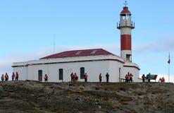 在马格达莱纳海岛上的灯塔  图库摄影