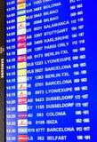 在马略卡岛帕尔马机场的与信息有关的飞行盘区 免版税库存照片