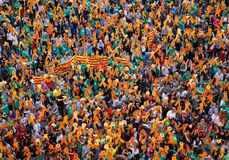 在马略卡西班牙海岛抗议赞成卡塔龙尼亚加泰罗尼语的文化和语言 免版税库存照片