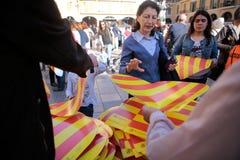 在马略卡西班牙海岛抗议赞成卡塔龙尼亚加泰罗尼语的文化和语言 免版税图库摄影