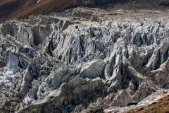 在马纳斯卢峰冰川的看法在尼泊尔 库存图片