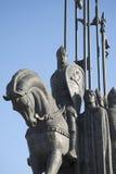 在马背上亚历山大・涅夫斯基 冰的纪念争斗的片段 免版税库存照片