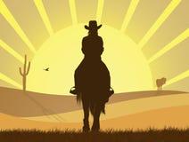 在马背上女孩在沙漠 向量例证
