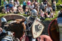 在马背上战斗的骑士 免版税库存图片