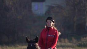 在马背上疾驰在一个绿色领域的妇女 慢的行动 股票视频