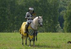 在马背上装甲的中世纪骑士 免版税库存照片