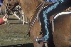 在马背上车手特写镜头,短距离冲刺的马事件,东部科林斯湾,佛蒙特 免版税库存图片