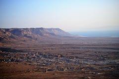 在马萨达堡垒的美好的日出 希律王国王的宫殿废墟在Judean沙漠,以色列 库存照片