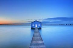 在马蒂尔达海湾船库的日出在珀斯,澳大利亚 免版税图库摄影
