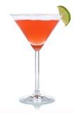 在马蒂尼鸡尾酒玻璃的红色鸡尾酒 库存照片