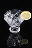 在马蒂尼鸡尾酒玻璃的闪耀的饮料与柠檬切片 库存照片