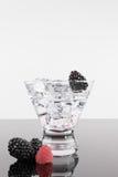 在马蒂尼鸡尾酒玻璃的闪耀的饮料用莓果 库存照片