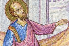 在马赛克墙壁上的古老壁画-传道者保罗纪念碑 库存照片