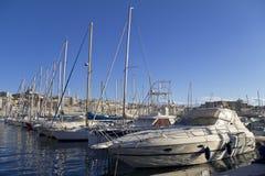 在马赛港有船的,法国 库存图片