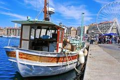在马赛,法国旧港口的星期天  库存图片