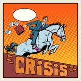 在马跳跃的障碍危机的商人 皇族释放例证