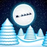 在驯鹿雪橇的圣诞老人乘驾 免版税图库摄影