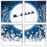 在驯鹿雪橇的圣诞老人乘驾 库存照片