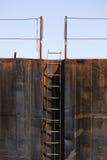 在驳船的梯子 免版税库存照片