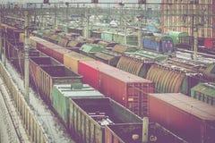 在驻地的货物无盖货车 图库摄影