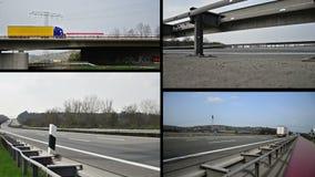 在驾驶德国高速公路的高速公路的卡车  免版税库存照片