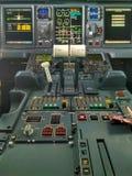 在驾驶舱巴西航空工业公司175 Belavia内 免版税图库摄影
