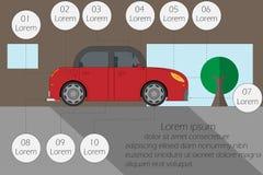 在驾驶,文本的空的空间前导航例证检查汽车 库存图片