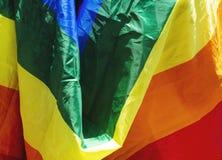 在骄傲游行,关闭的快乐彩虹旗子 免版税库存照片