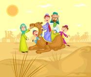 在骆驼乘驾的回教家庭骑马 免版税库存图片