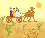 在骆驼推车的回教家庭骑马 图库摄影