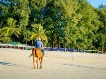 在骑马的牛仔帽的一个车手在海滩 库存图片