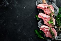 在骨头的未加工的牛排 肉用香料和草本 在黑石背景 库存照片