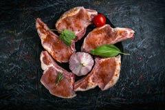 在骨头的猪肉烹调的剁 库存照片