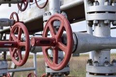 在高压井流动的设备的停机阀 油 免版税图库摄影