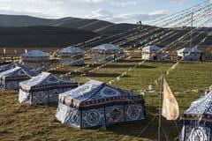 在高原的帐篷 免版税库存图片