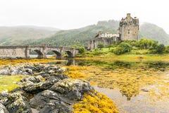 在高地山的爱莲・朵娜城堡在苏格兰 库存图片