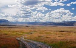 在高地山高原的路道路与在宽干草原的背景的橙色草 库存图片